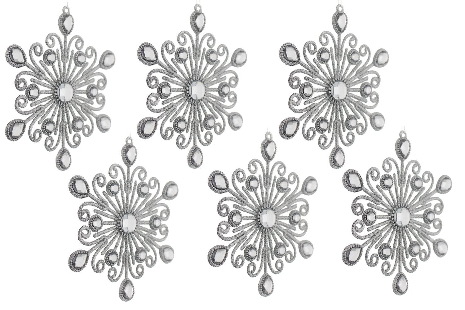Elegant Fancy Christmas Holiday Shimmering Sparkling Glitter Snowflake Ornaments with Rhinestones, Silver, Medium, 6 Pack, (6 inches)