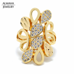 brass jewelry manufacturer almaha jewelry 18k Gold Plated CZ Zircon muslim ring