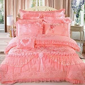 LELVA Luxury Lace Princess Bedding Pink Wedding Bedding Princess Bedding Korean Designer, Girl Red Ruffle Bedding Set 4pcs / 6pcs / 8pcs / 10pcs Queen / King Size (King, 1(4pcs))