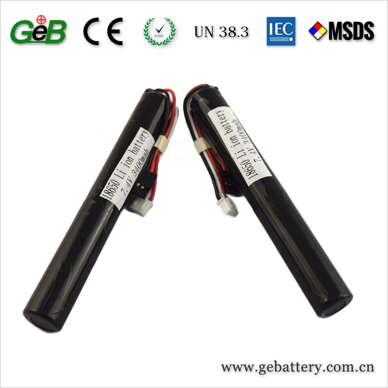 Rechargeable 18650 7.4V 3400mAh Cylindrical Li-ion Battery