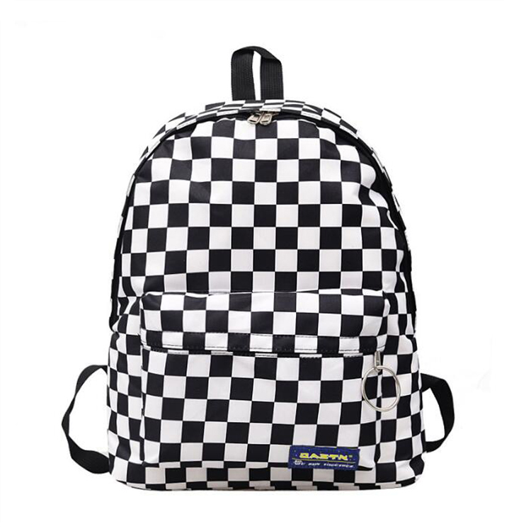 China wholesale preppy style black and white checkered women canvas travel teenager girl school backpack