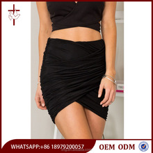 Hot Sale Black Jersey Wrapped Micro Mini Skirt with Asymmetrical Hemline