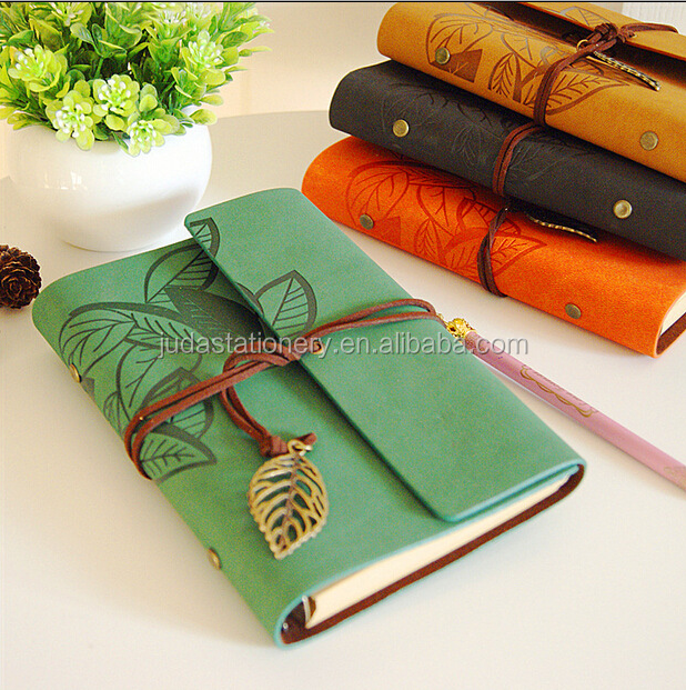 2017 Wholesale Promotional Cheap Custom A5 A6 Genuine Cowhide Leather Vintage Style Notebook