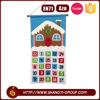Wall hanging good quality custom polyester felt christmas advent calendar