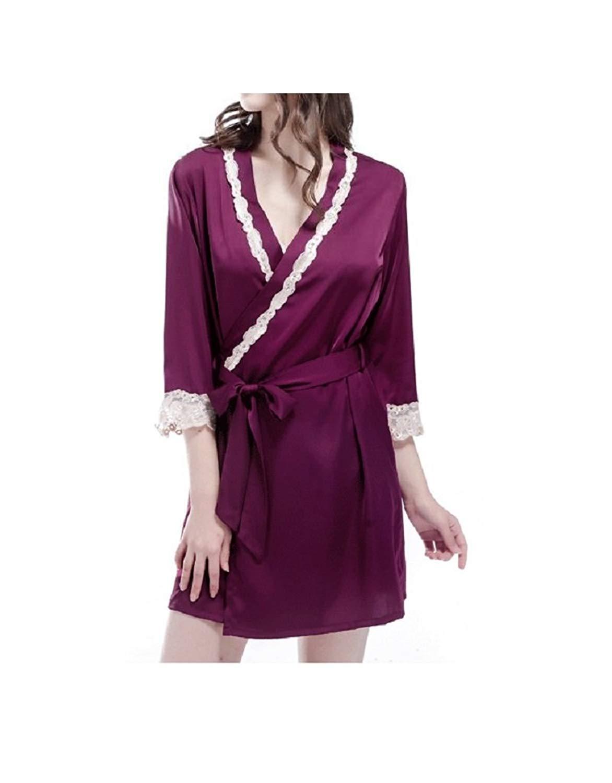 Get Quotations · Complexline Thin Lace-trimmed Satin Short Kimono Bathrobe  Red c4bfba28e