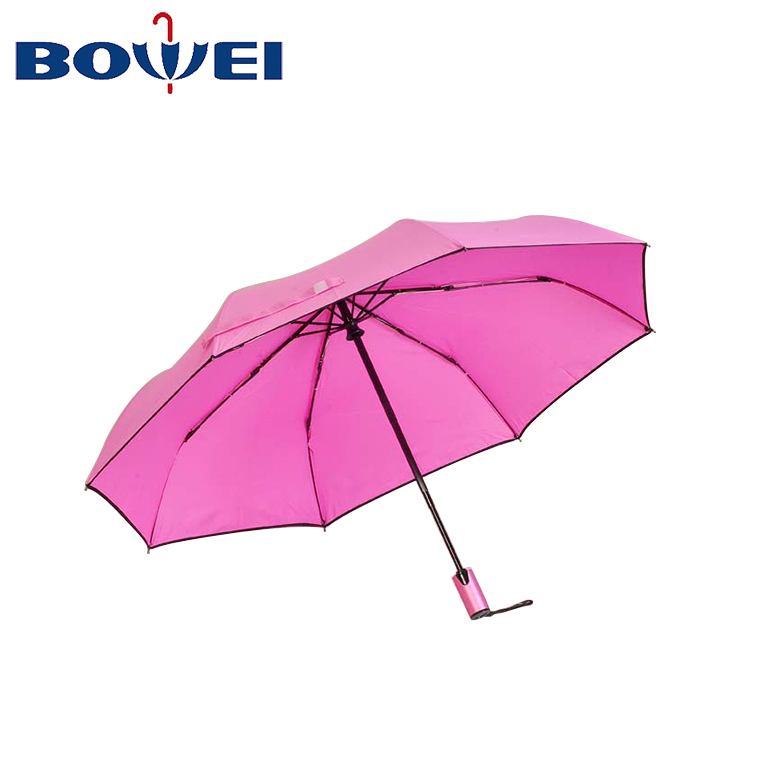 pure color High Quality mini  Windproof Rain 3 automatic Folding Umbrella Multi Colors customised Umbrella