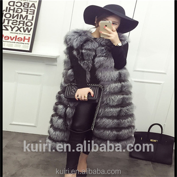 European station new high imitation fur vest vest women whole leather fox fur long waistcoat