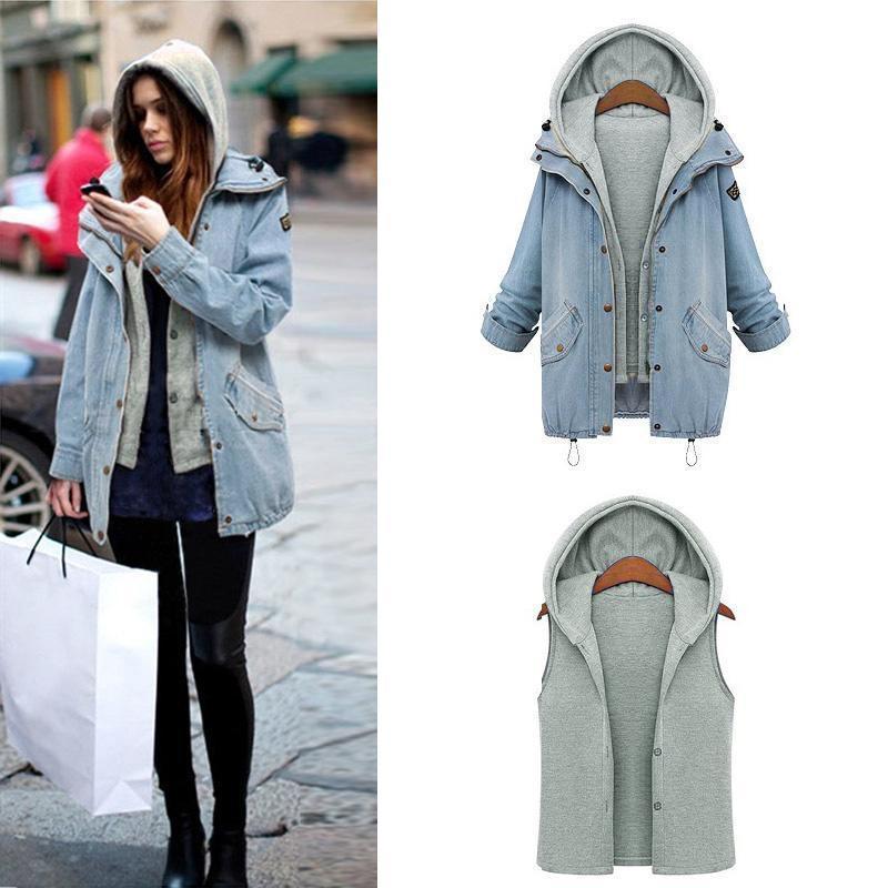 8bbec004572 Wholesale Women Casual Knitted Jean Jacket Two Piece Set Denim ...