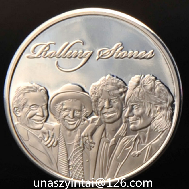 The beatles Rolling Stones silver plating Coin