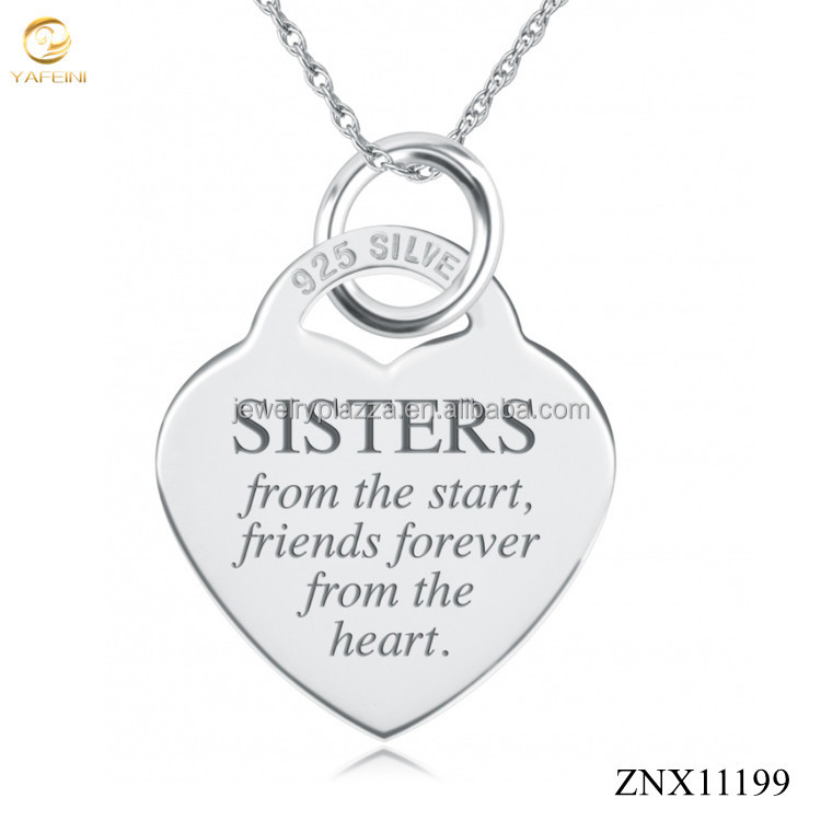 Sisters from the Start Necklace 925 Sterling Silver Heart Shaped S925 Personalised Jewelry Hot sale
