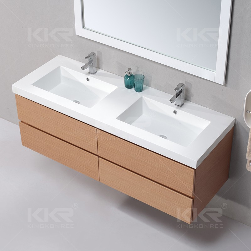 Modern L Shaped Acrylic Solid Surface Double Sink Bathroom Vanity