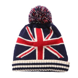 USA Flag Beanie Hat Winter Warm Knitted Cap Wool Hat Wholesale Skullies  Cool Beanies With Pom Pom e4af1e1a6075