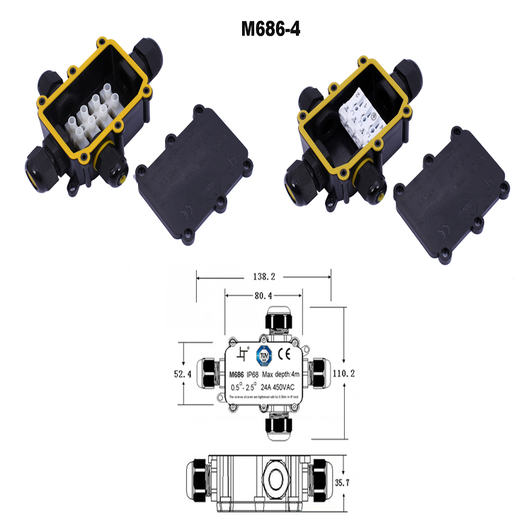 2-8 holders 4-14mm cable plastic  electrical ip68 waterproof junction box with quick connector