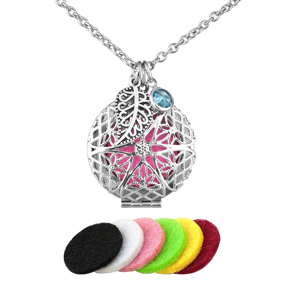 Third Time Charm Essential Oils Aromatherapy Diffuser Locket Necklace Jewelry, 6 Refill Pads (White)