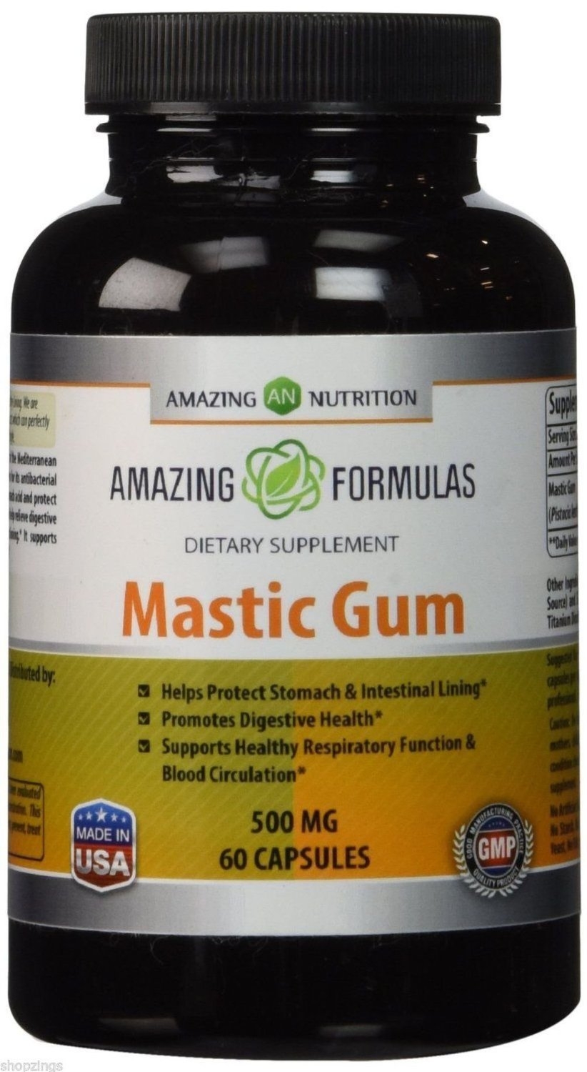 Amazing Nutrition Mastic Gum 500 mg 60 Capsules. Supplement Stomach Ulcer Health