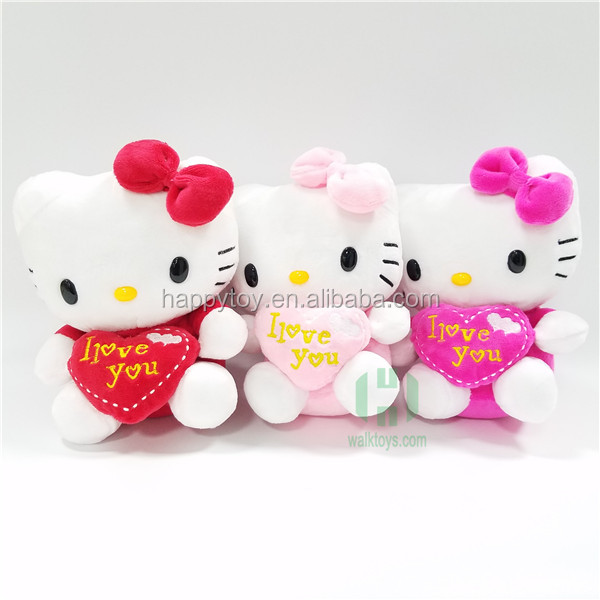 HI CE hot sale valentines gift hello kitty plush toy with heart for sale