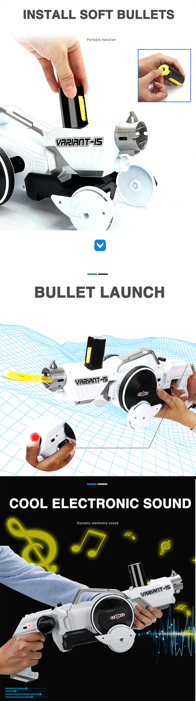 Wholesale 2 IN 1 kids deformation plastic super power electric airsoft air soft bullet toy gun