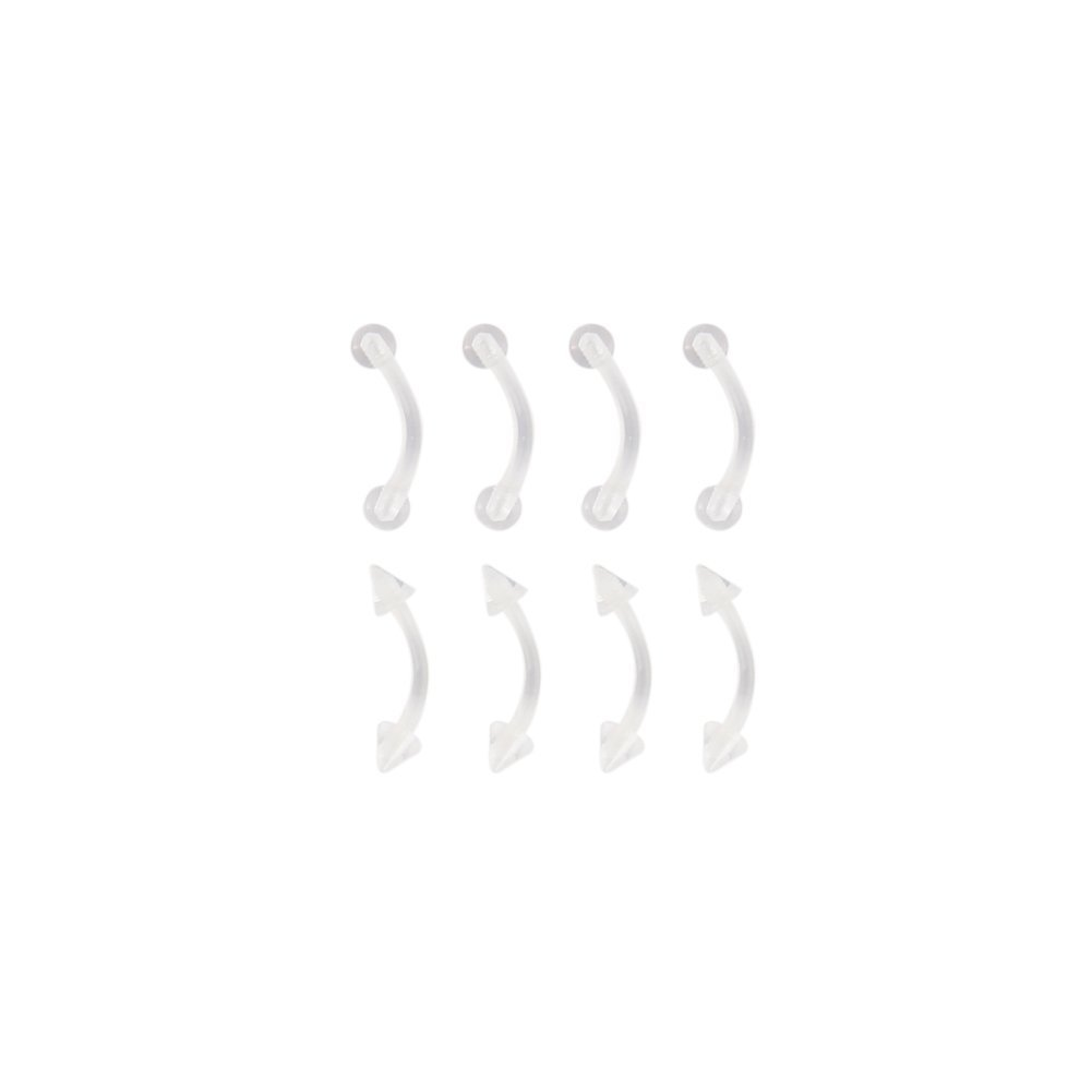 """5PC 14G 3//8/"""" BELLY RETAINER BUTTON RING BIO FLEXIBLE CLEAR ACRYLIC HIDE PIERCING"""