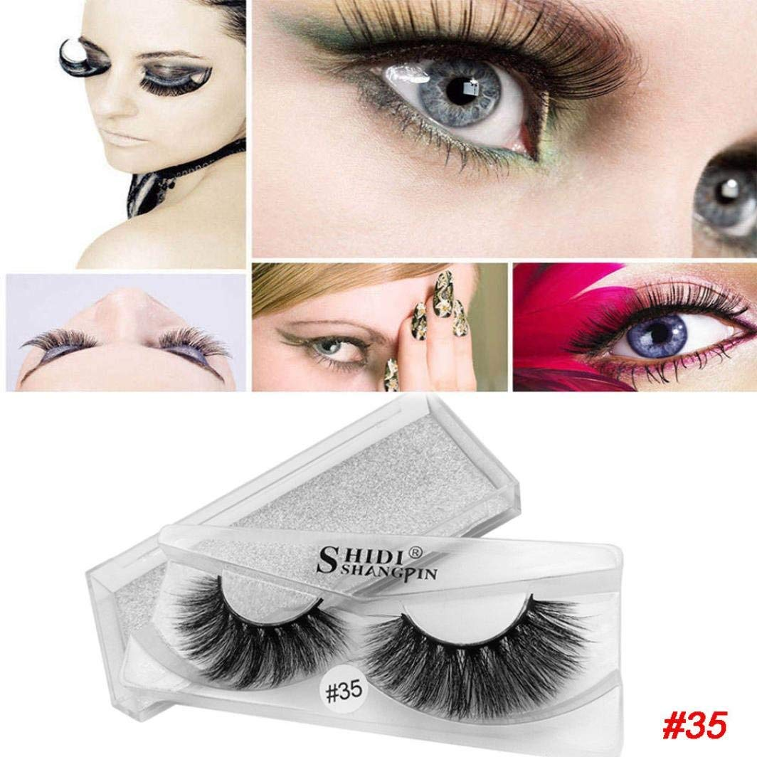 dd48e8e3f61 Theshy Handmade 1 Pair Of Natural Dense Realistic False Eyelashes Black  Natural Dense Handmade Charming Makeup