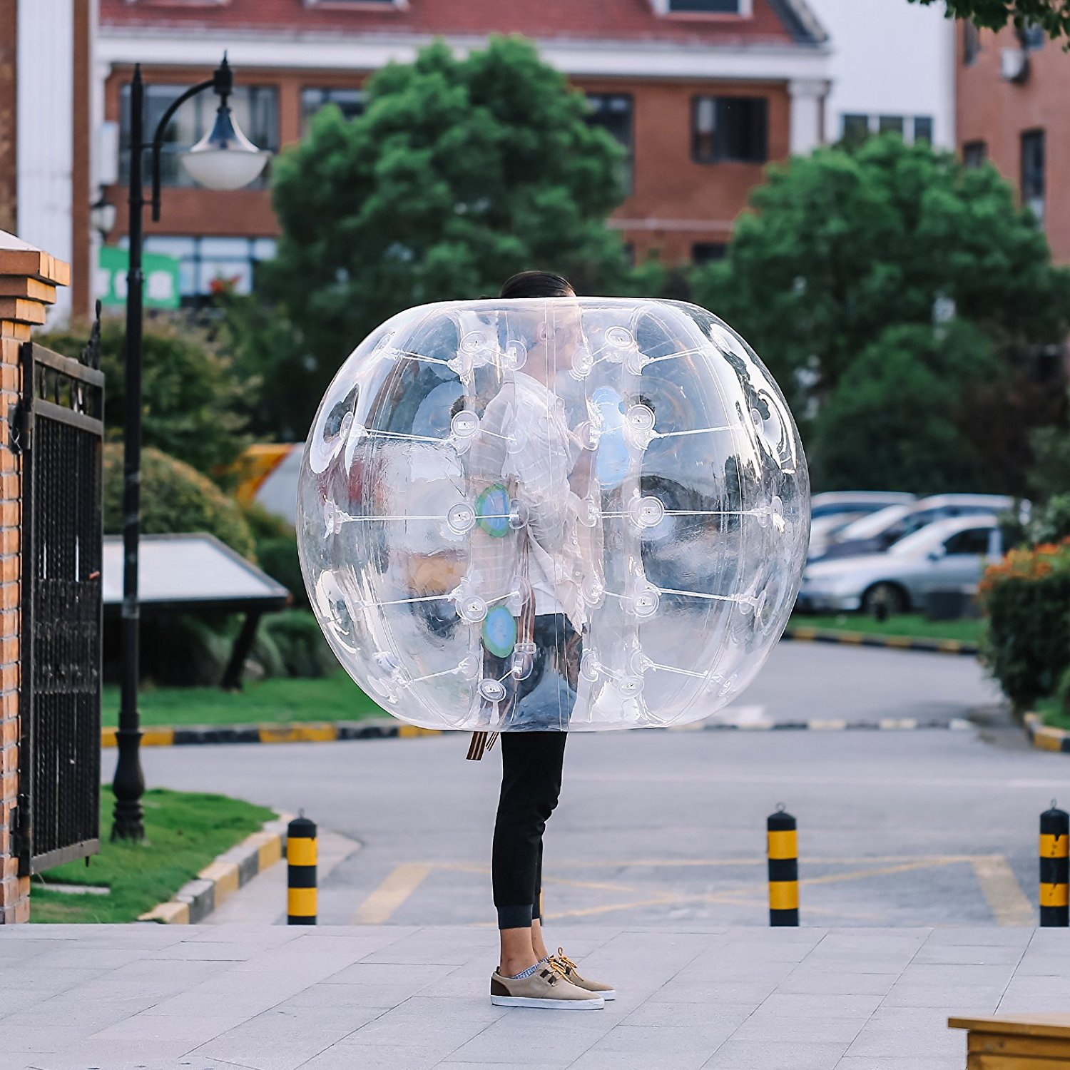BestEquip Bumper Ball Human Knocker Bubble Soccer football 0.8mm PVC Transparent Material wearable Inflatable Body bumper Zorb Ball for Adults and Kids