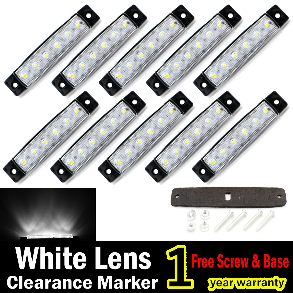 "10 pcs TMH® 3.8"" 6 LED White Side Led Marker Truck Trailer Bost Bus Cab Marker Light RV"