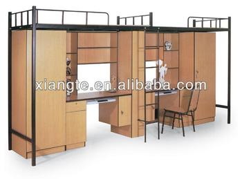 Modern Double Over Dormitory Metal Bunk Beds School Triple Bed With Desk