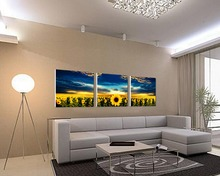 Home Hotel Decoration Group Beautiful Bright Impressionist Sunflowers Oil Paintings