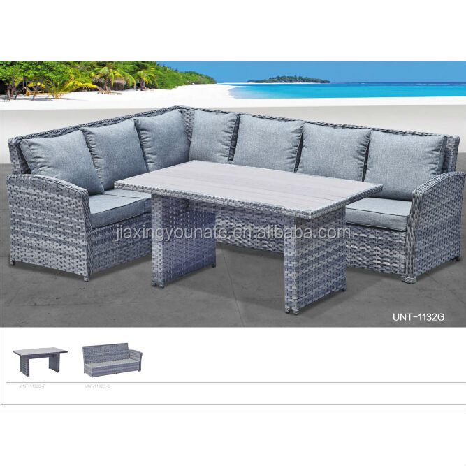 Poly Rattan Garden Furniture Corner Sofa Set Wide Flat Rattan With 5mm  Round Rattan Polywood Table Top UNT R 1132G ...