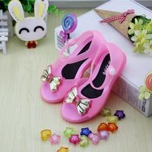 2015 Children Shoes Girls Sandals Sweet Princess Children Bow Shoes Crystal Bolsa Infantil Bach Sandals Kids