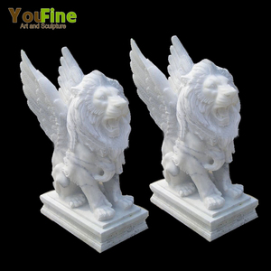 High Quality Outdoor Marble winged lion statues