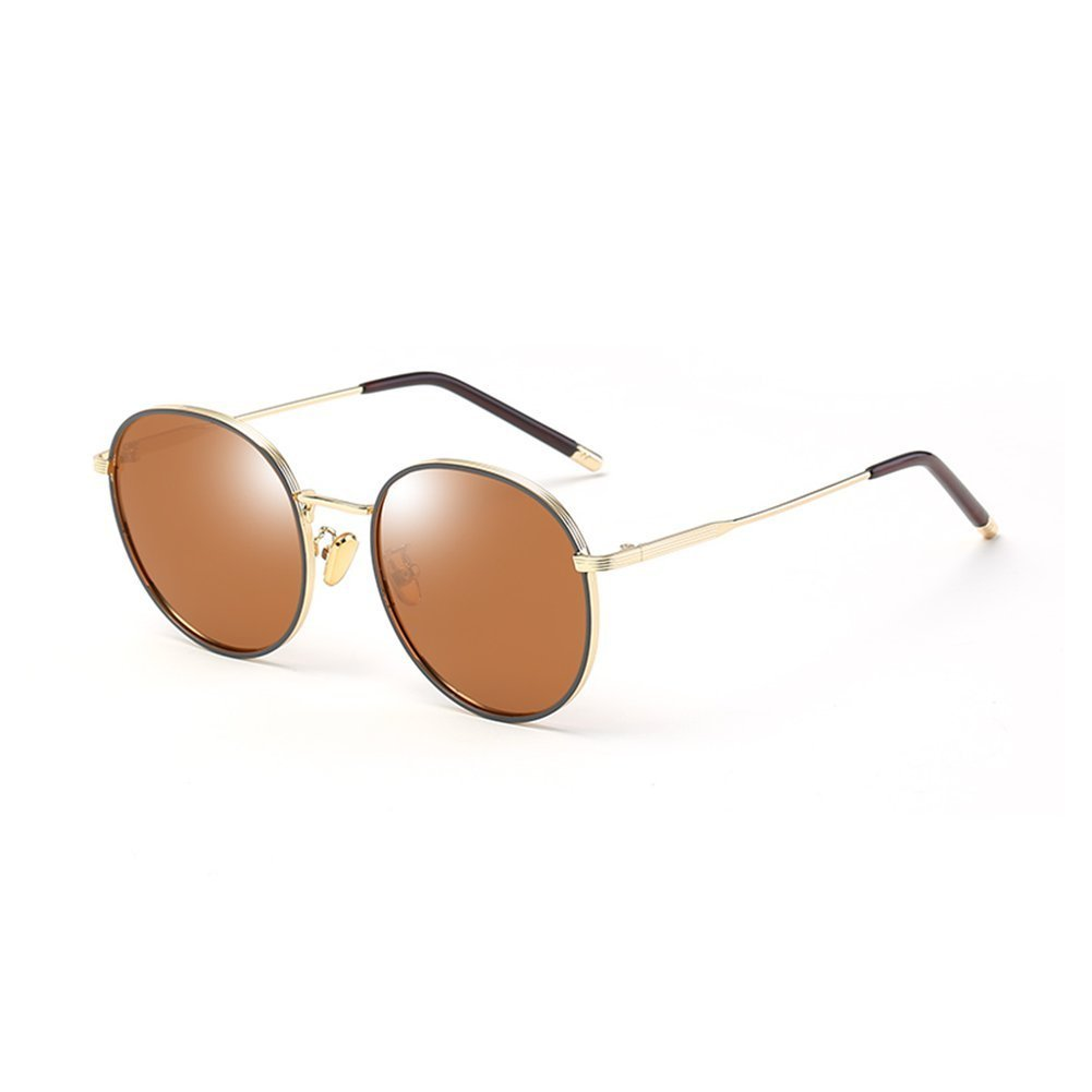 a9c5c7a1a3c Get Quotations · LIZHIQIANG Round Sunglasses Retro Unisex Round Face  Polarizer Sunglasses Mirror (Color   Gold Frame -