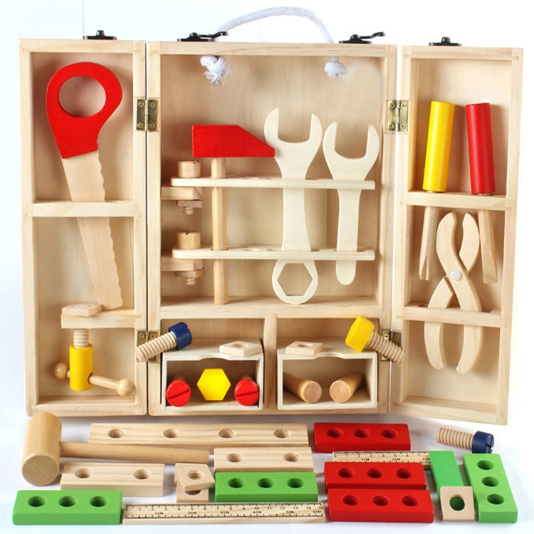 Educational Construction Pretend Play Accessories Wooden Tool Box Toys Set Kids