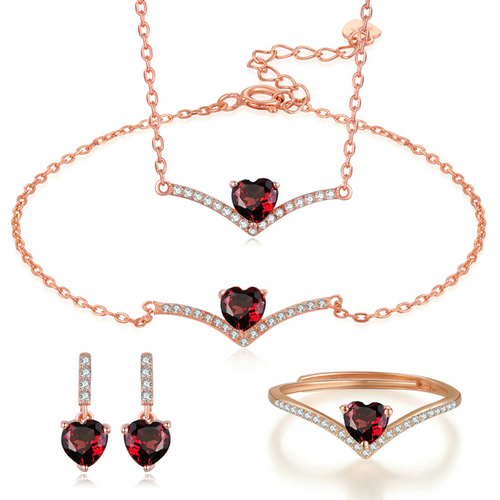 OB Jewelry-V Shape 925 Sterling Silver 3PCS Women Jewelry Sets Love Heart Natural Garnet Gemstones S925 Fine Jewelry Sets
