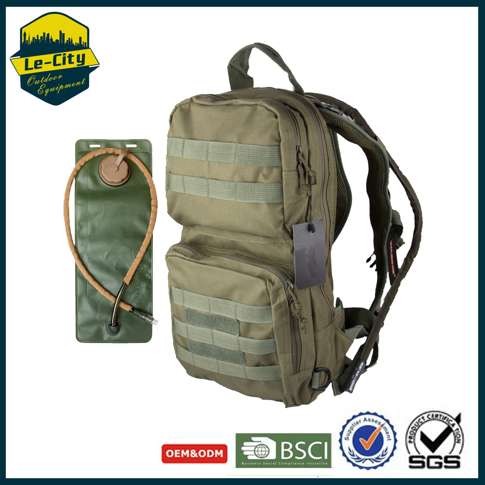 Tough Military Style Backpack Molle System Hydration Pack With 3L bladder Water Bag
