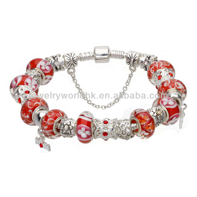 Hot Sell European wholesale fashion beautiful silver plated charm bead bracelet mom love
