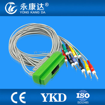 Compatible Nihon Kohden BR-911D 10 leads EKG cable and lead wires with 20k resistance 3.0 din type