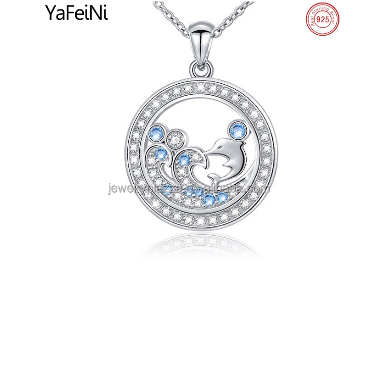 White gold plated playing dolphin wave diamond pendant necklace , 925 sterling silver jewelry manufacturer