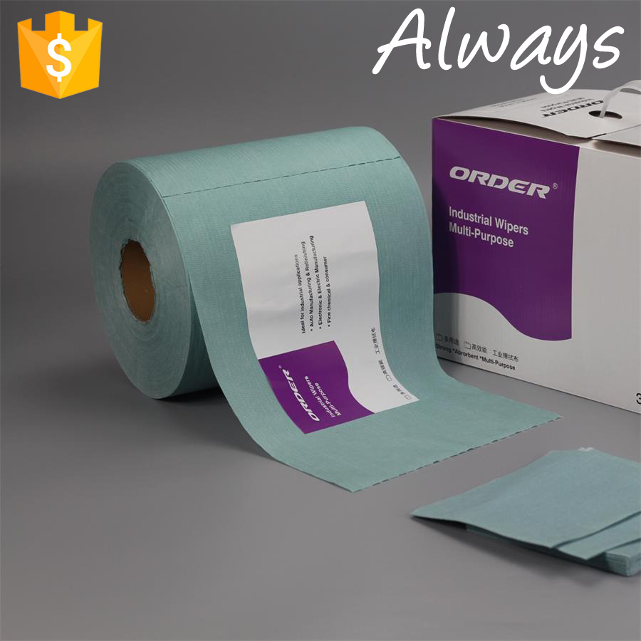 Roll of Green White and blue Wipes is cotton cleaning cloth roll