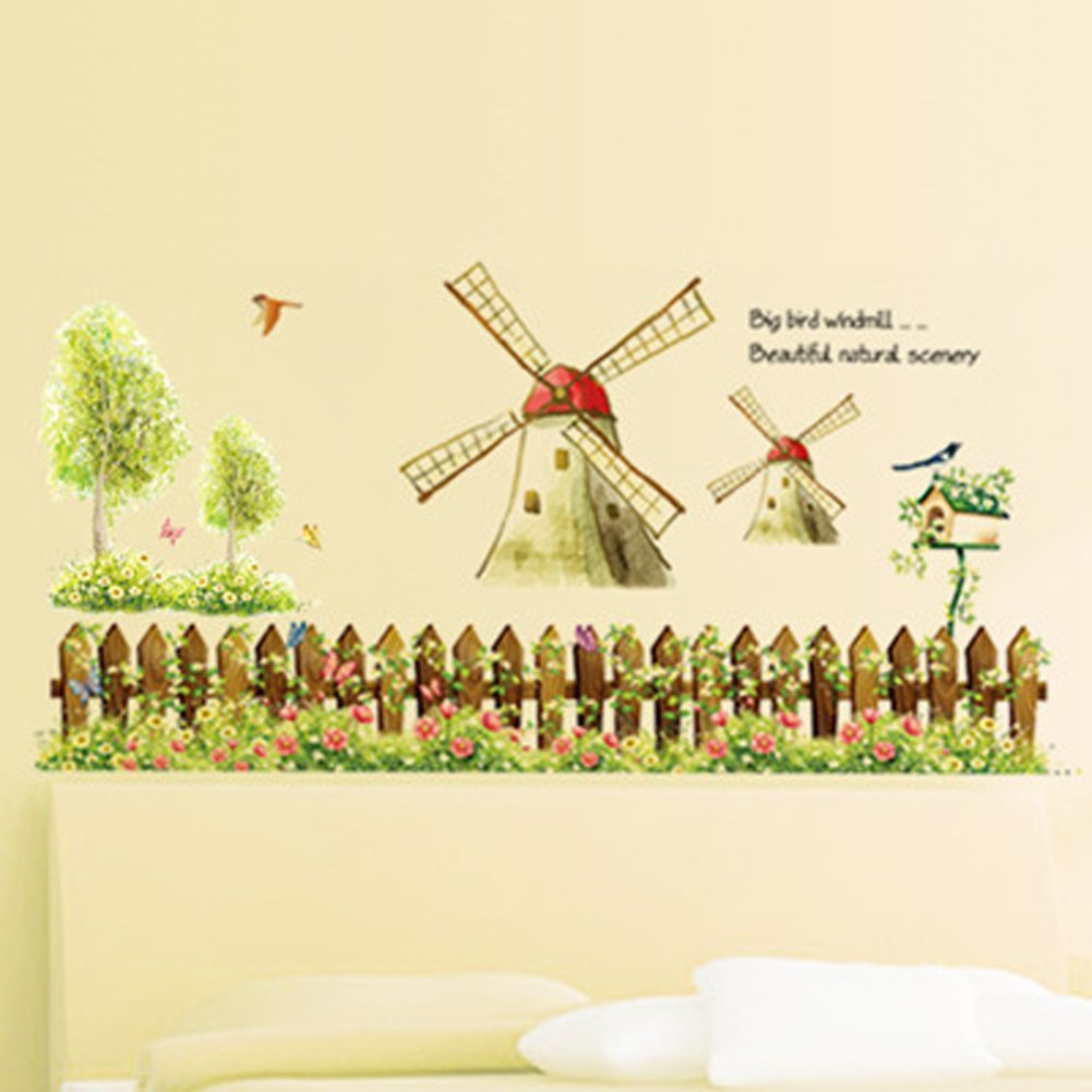 Hoods Red StickAny Car and Auto Decal Series Vintage Windmill Sticker for Windows Doors