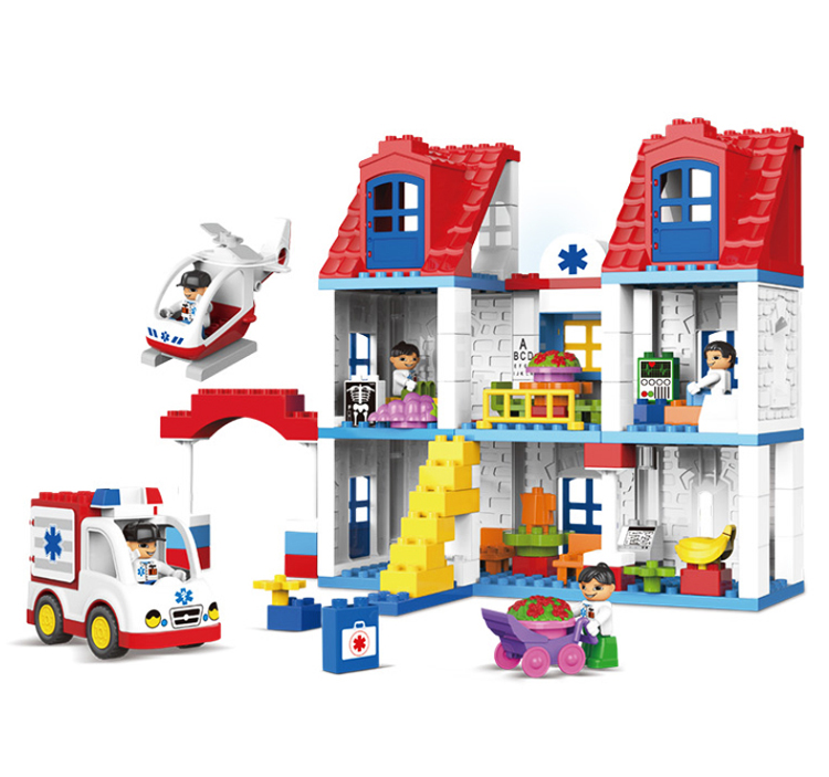 UKLego Duplo 120pcs Hospital Building infirmary rescue block toy.
