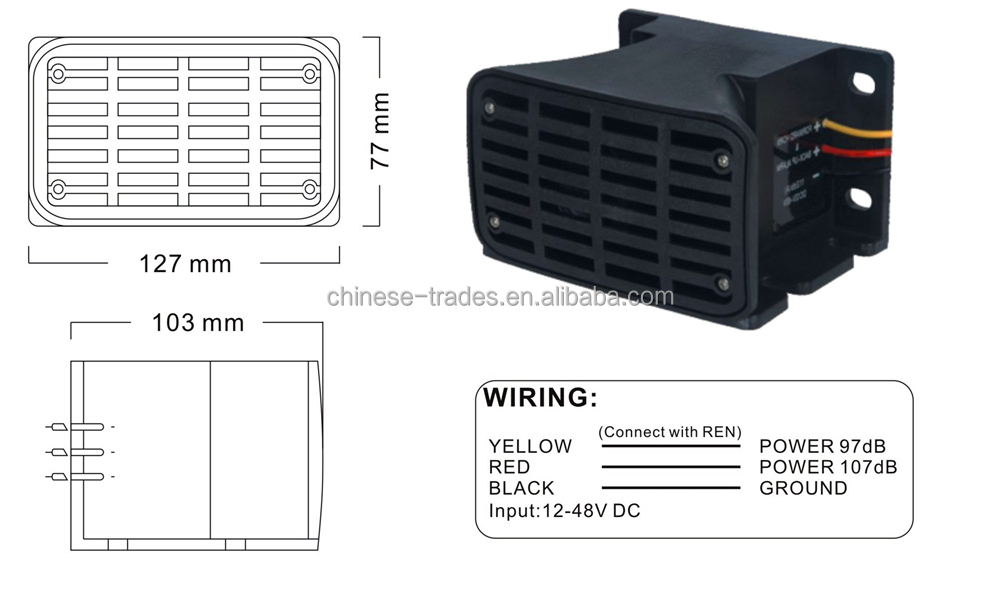 High Quality safety reversing alarm, back up horn DC 12-48V with CE certificates for for Truck , Forklift