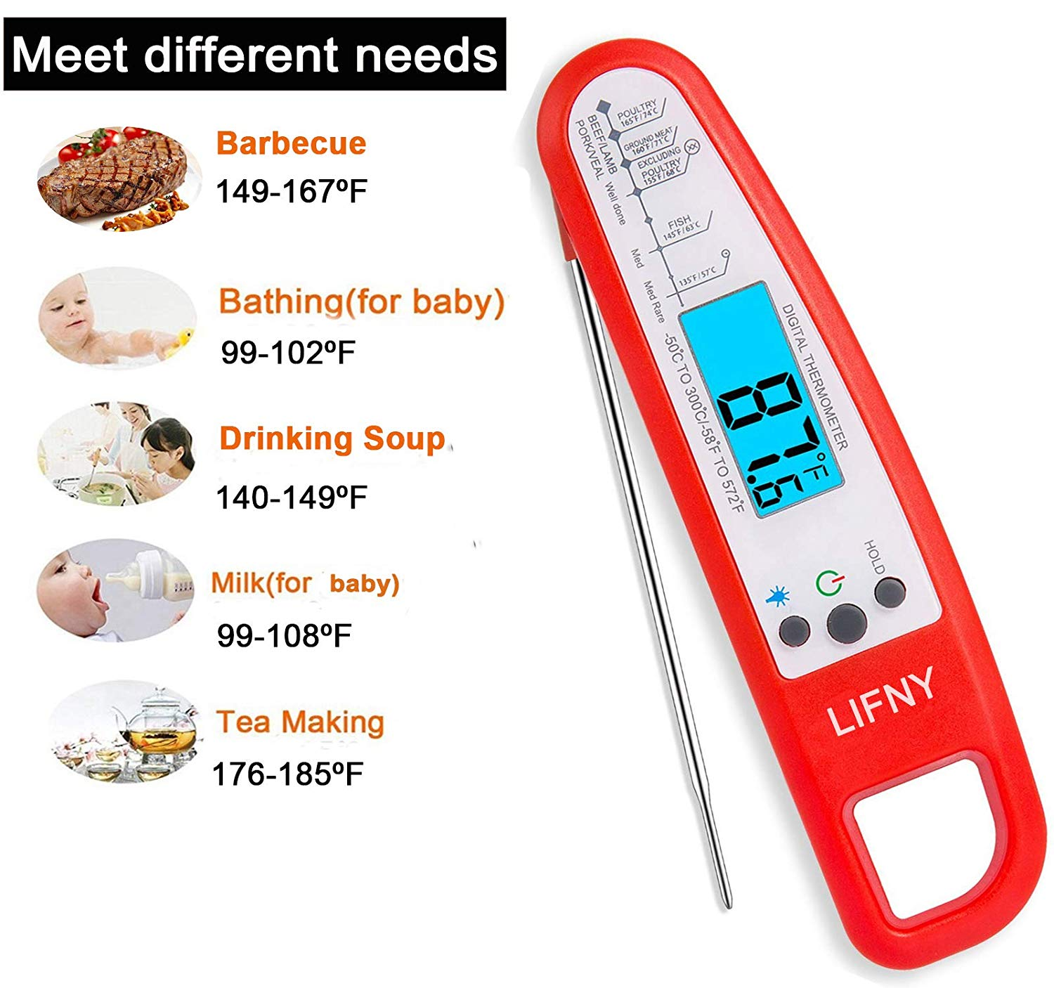 LIFNY Meat Instant Read Grill Calibration and Backlit Waterproof for Food,Milk,Tea,BBQ-Digital Cooking Thermometer with Probe, red