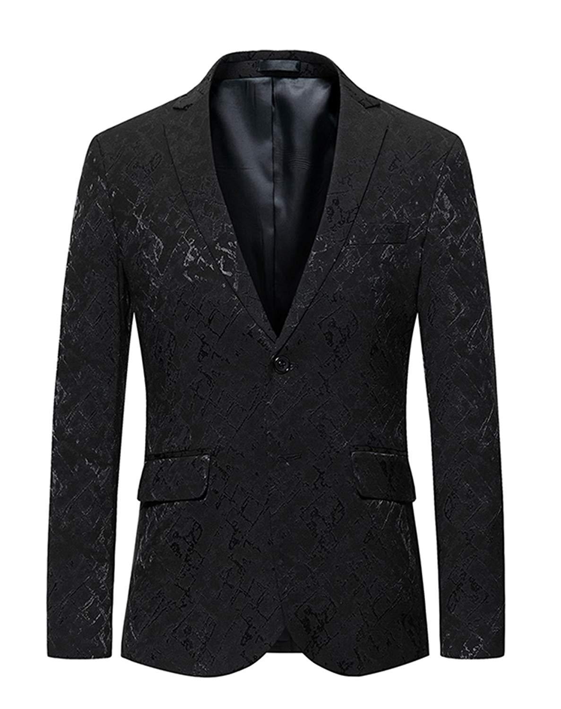 WSPLYSPJY Men Two Button Sport Coat Elbow Patches Blazer Casual Suit Jacket