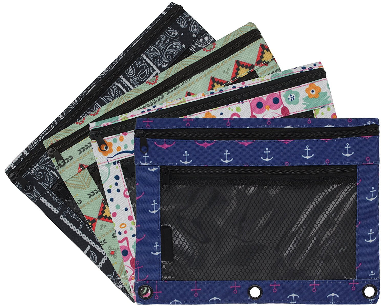 Emraw 2 Random Pack Double Pocket Zippered Trendsetters Pencil Pouches with 3-Ring Grommet Holes & Quick View Mesh Pocket - 4 Different Styles