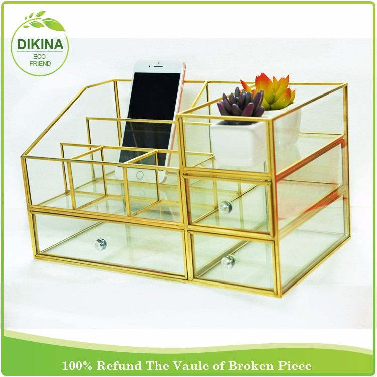 Wholesale Clear Unique Custom Tabletop Watch Cabinet And Showcases Ring  Necklace Storage Box Brass Glass Jewelry
