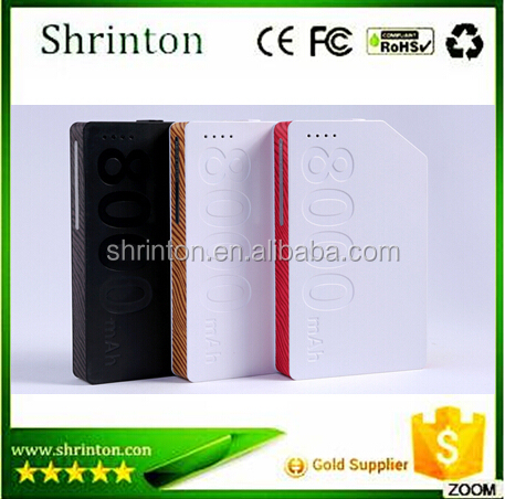 2015 manufacture supply, fast charging smart mobile portable cell phone power bank 8000mah