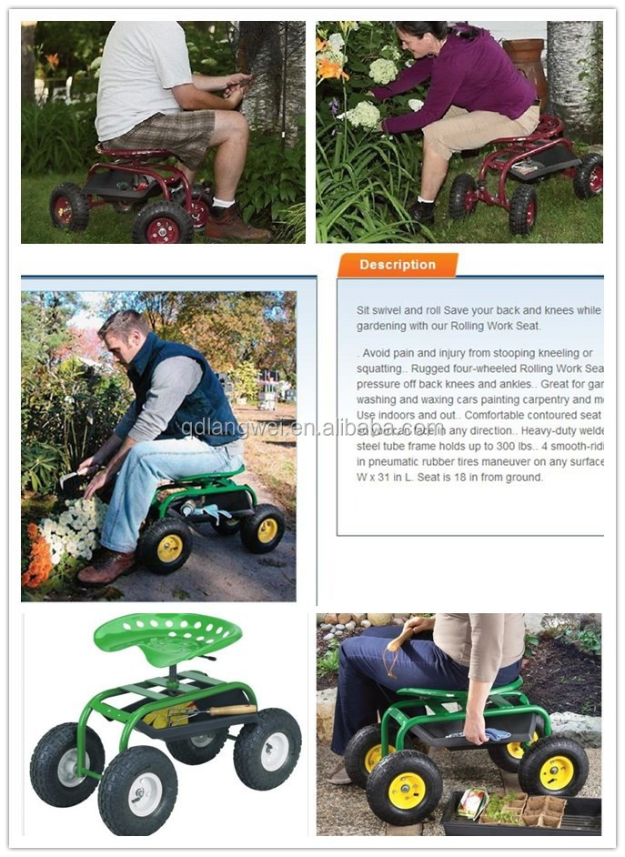 Wheeled Garden Seat Hopper Gardening Work Cart Tool Storage Rolling Stool  Wagon