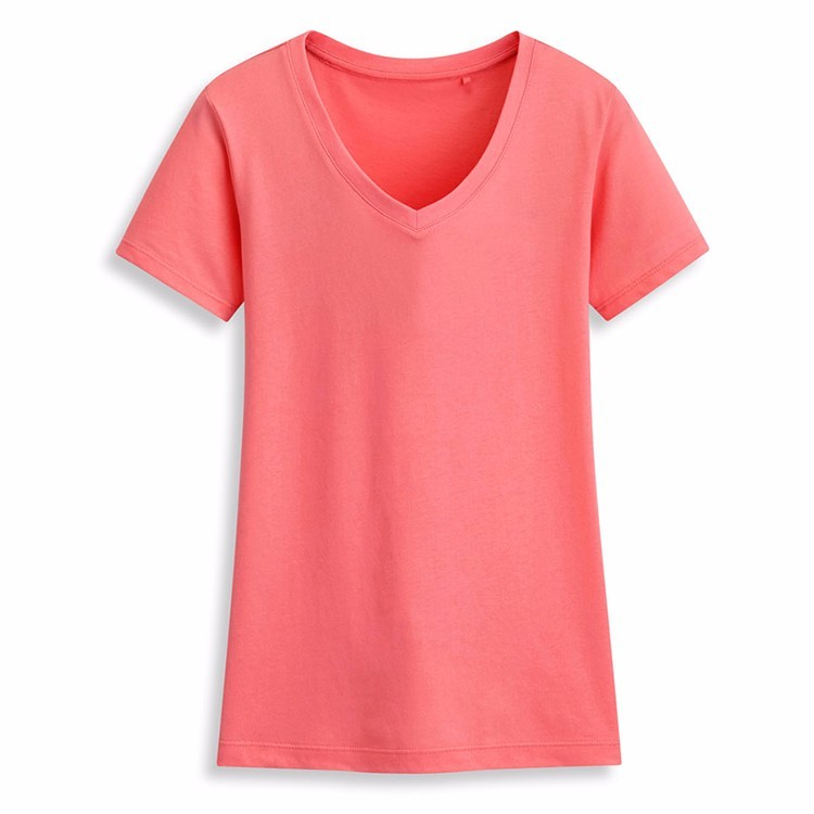 Ats160 wholesale promotional cheap price cotton v neck Custom printed women s t shirts