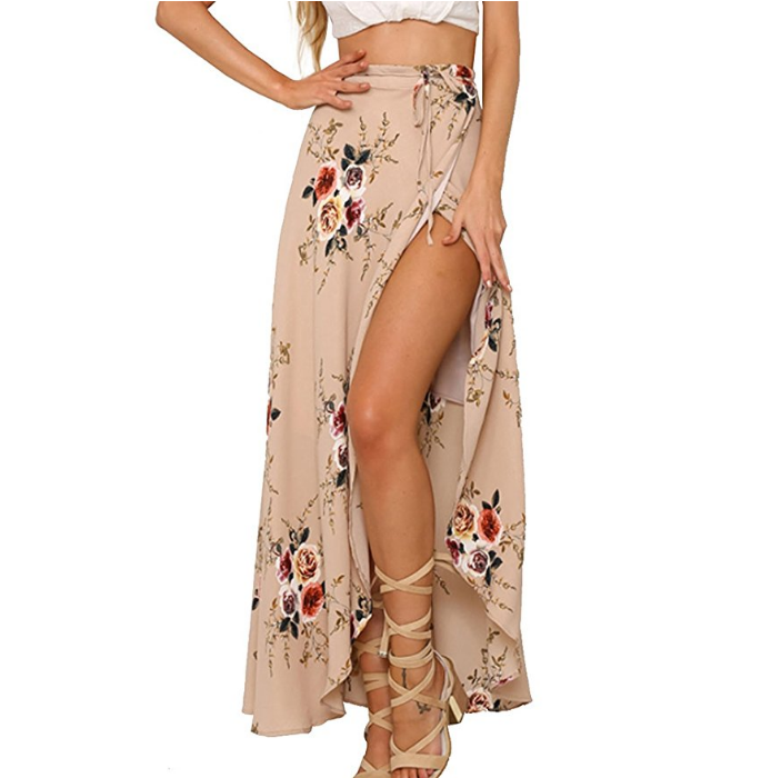 Amazon Womens Boho Floral Tie up Waist Summer Beach Wrap Cover up Maxi Skirt