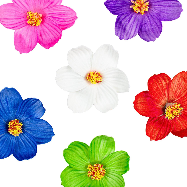 Cheap india hawaiian foam flower hair clips find india hawaiian get quotations hula girl paper foam hibiscus color assorted flower lei hawaiian island rainforest theme hair clips for izmirmasajfo